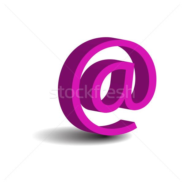 Pembe e-mail imzalamak yalıtılmış beyaz bilgisayar Stok fotoğraf © rumko