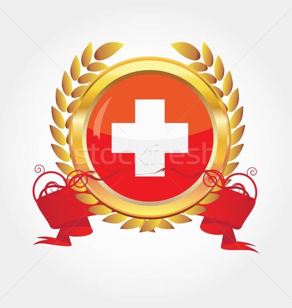 Button with map flag Switzerland Stock photo © rumko
