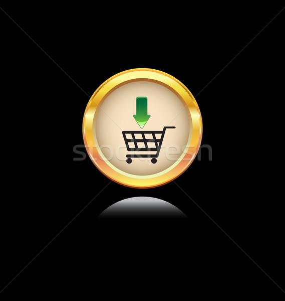 Simge altın düğme alışveriş yalıtılmış Stok fotoğraf © rumko