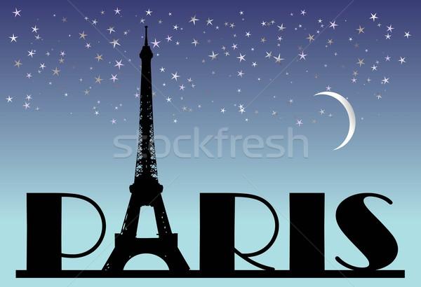Słowo Paryż noc streszczenie wycieczka eiffel Zdjęcia stock © rumko