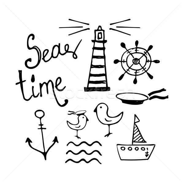 Sea and Boat  Hand-drawn Doodles Stock photo © rumko