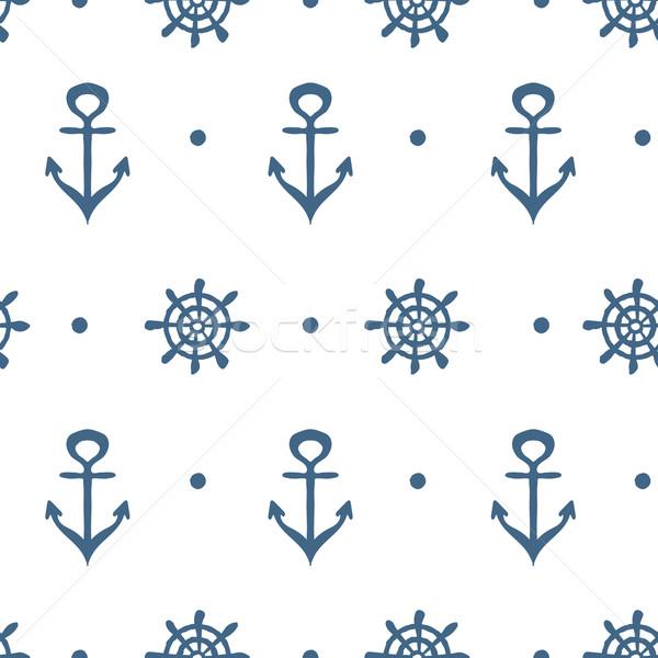 Niebieski biały morski szablon kotwica koła Zdjęcia stock © rumko