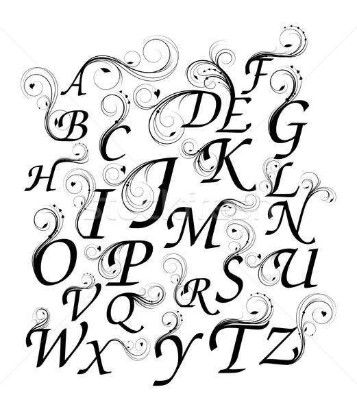 Bağbozumu alfabe dizayn elemanları Stok fotoğraf © rumko