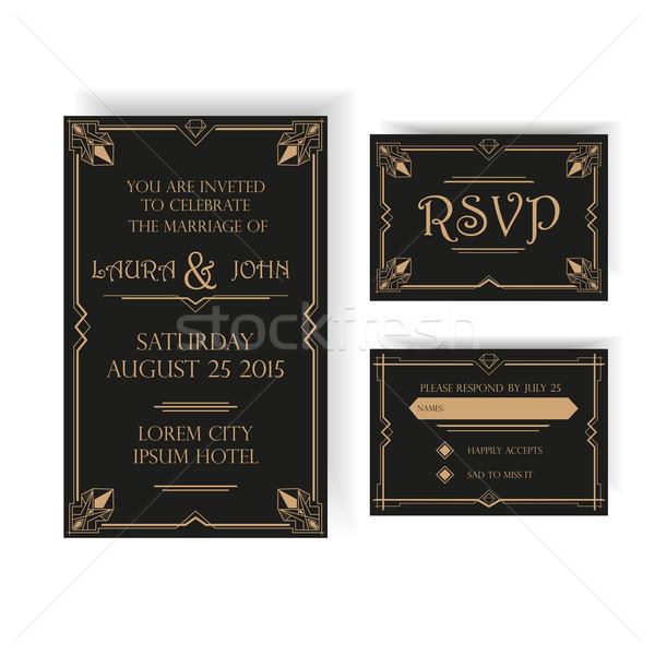 Wedding Invitation and RSVP Card - Art Deco Vintage Style Stock photo © rumko