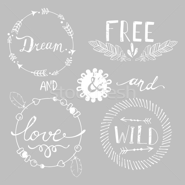 Set of Boho Style Frames and elements. Vector illustration. Stock photo © rumko