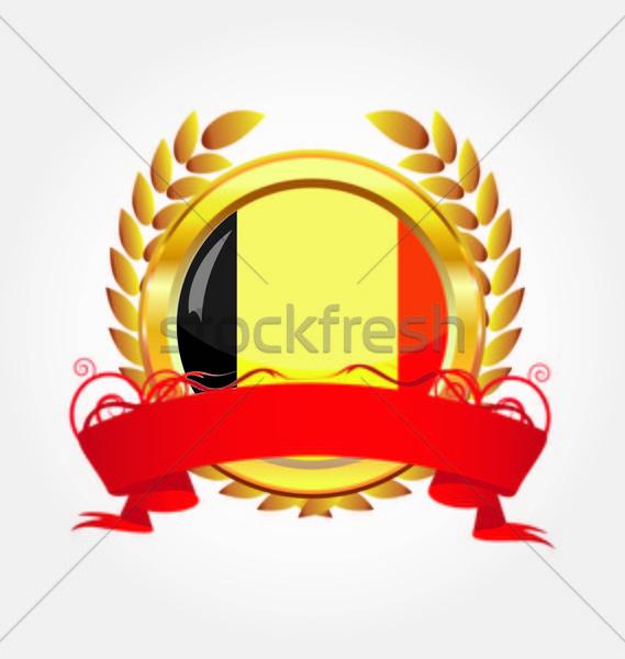 Belgium shiny button flag with golden frame Stock photo © rumko