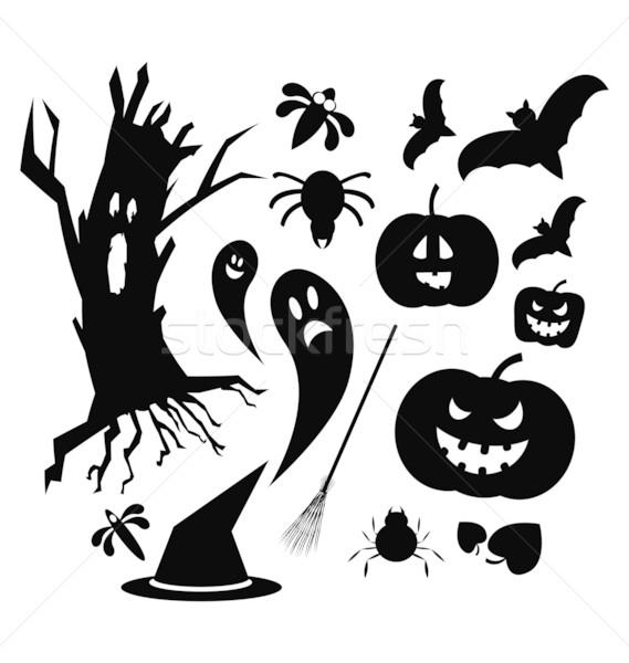 Halloween simgeler siyah renk yalıtılmış beyaz Stok fotoğraf © rumko