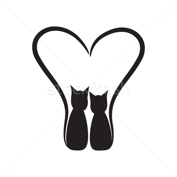 two cats and hearts on a white background Stock photo © rumko