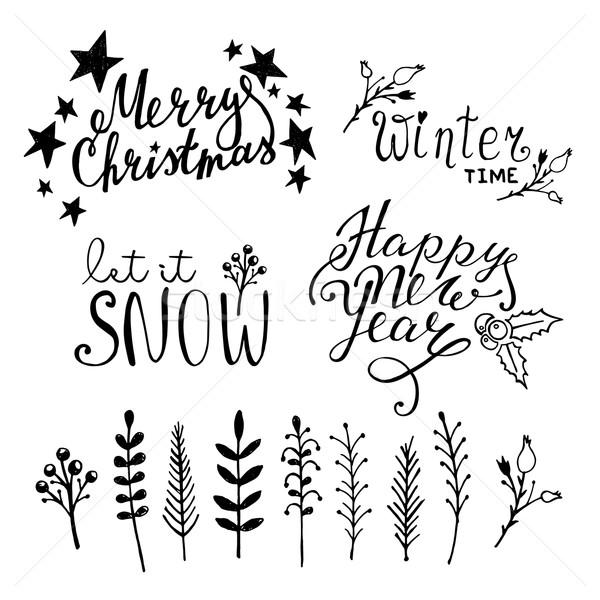 Ayarlamak Noel grafik elemanları beyaz Stok fotoğraf © rumko