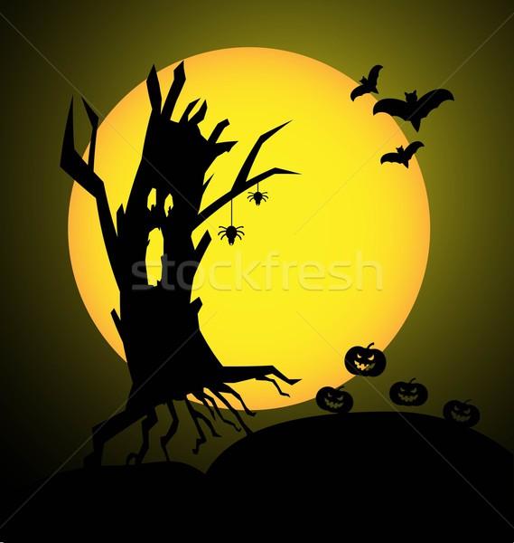 Halloween çılgın ağaç kabak ay turuncu Stok fotoğraf © rumko