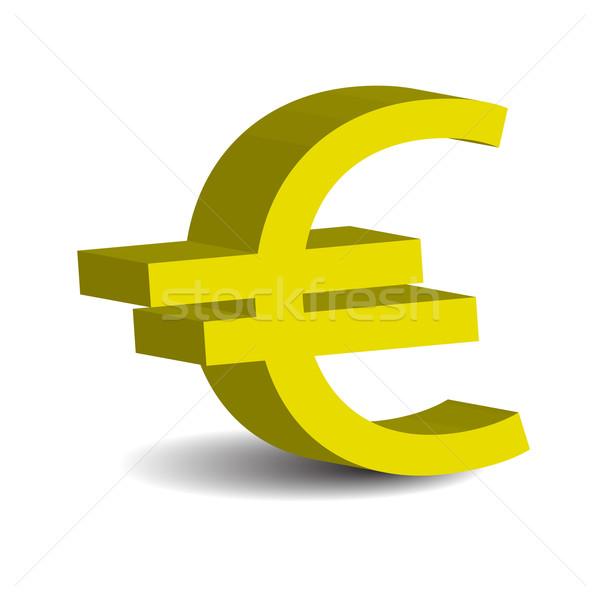 Euro 3D ikona odizolowany biały działalności Zdjęcia stock © rumko