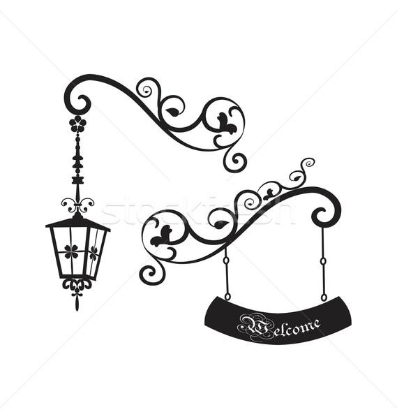 Ulicy starych lampy widziane w stylu retro Zdjęcia stock © rumko