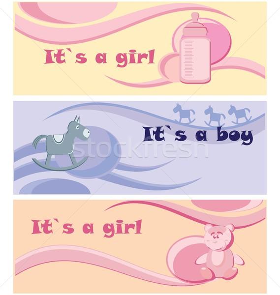 Baby jongen meisje aankomst aankondiging kaart Stockfoto © rumko