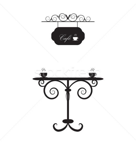 Kawy retro tabeli antyczne dwa Zdjęcia stock © rumko