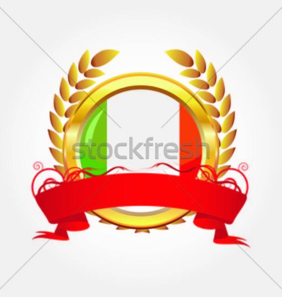 İtalya parlak düğme bayrak altın çerçeve Stok fotoğraf © rumko