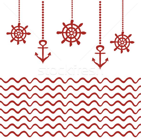 Rouge blanche nautique modèle ancre roue Photo stock © rumko