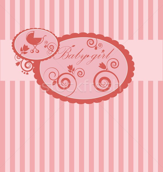 Baby girl arrival announcement card. Stock photo © rumko
