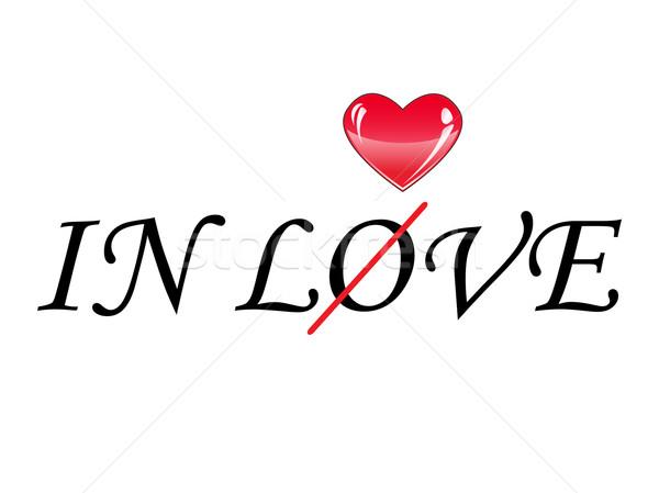 Yazılı sözler sevmek büyük kırmızı kalp Stok fotoğraf © rumko