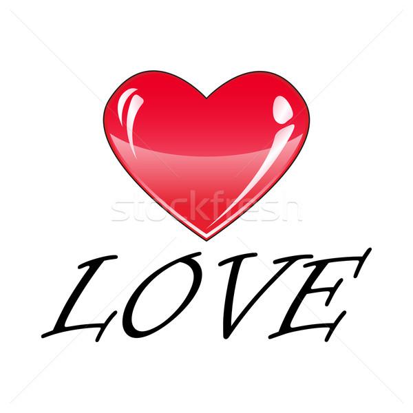 Sevmek büyük kırmızı kalp yalıtılmış beyaz Stok fotoğraf © rumko