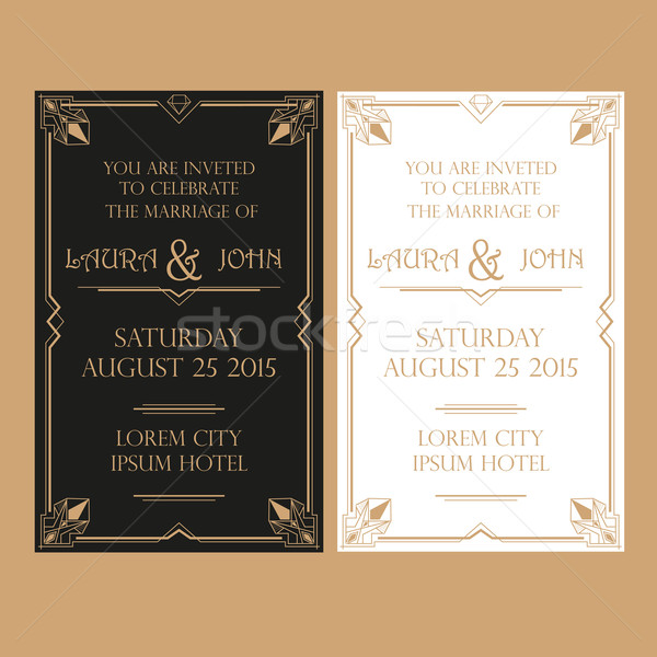 Wedding Invitation Card - Art Deco Vintage Style Stock photo © rumko
