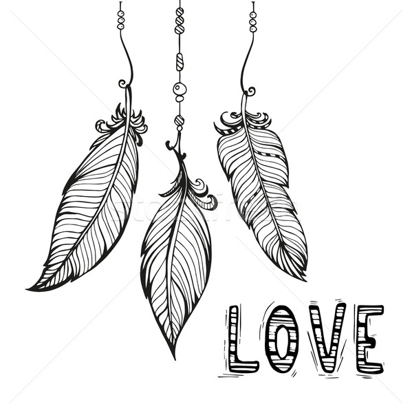 Vector hand drawn poster with feathers. Bohemian style.  Stock photo © rumko