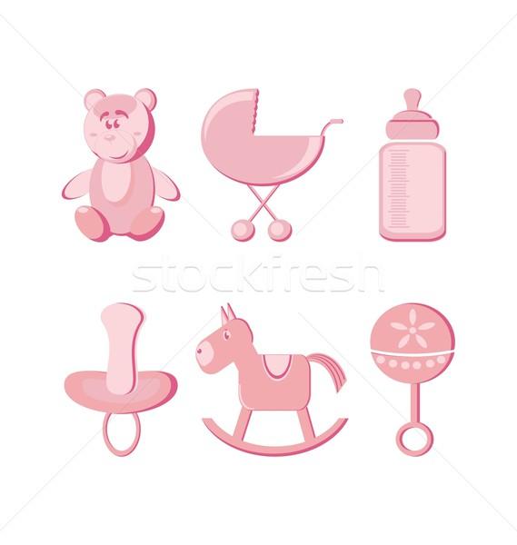 Baby butelki ponosi różowy cartoon Zdjęcia stock © rumko