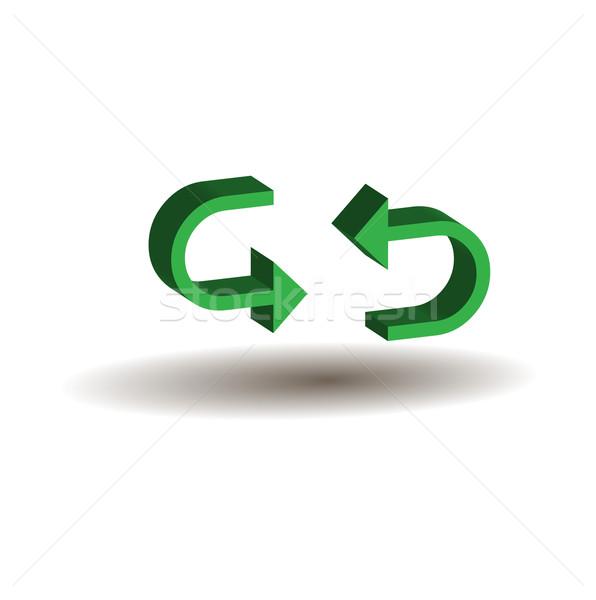 Yeşil 3D oklar yalıtılmış beyaz imzalamak Stok fotoğraf © rumko