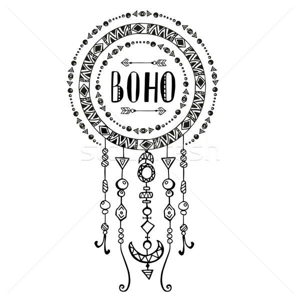Hand drawn sign in boho style. Vector illustration. Stock photo © rumko