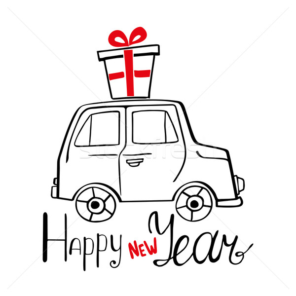Happy New Year Card with hand drawn car and present Stock photo © rumko