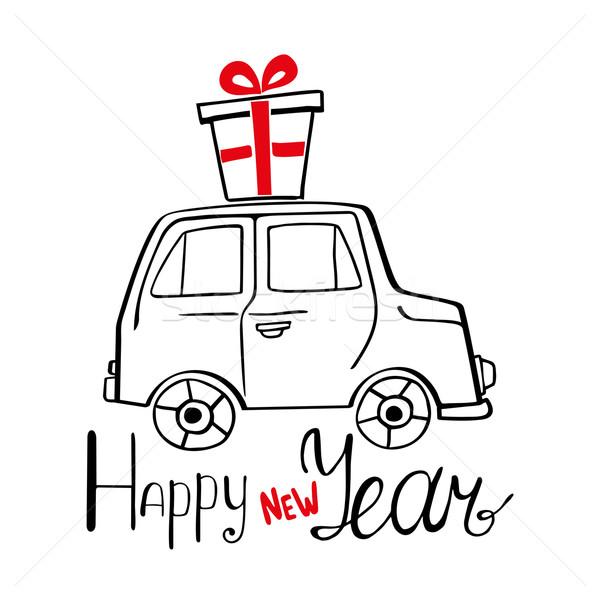 商业照片: 新年好 ·卡· 手工绘制 · 汽车 · 目前 · 快乐