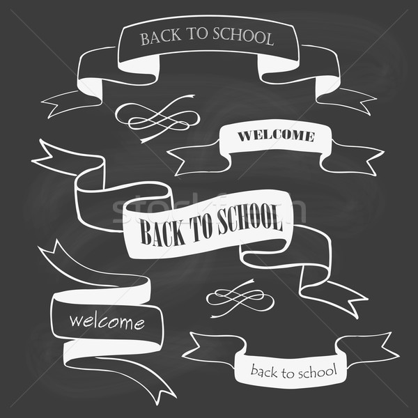 Set of back to school badges and ribbons on chalkboard Stock photo © rumko