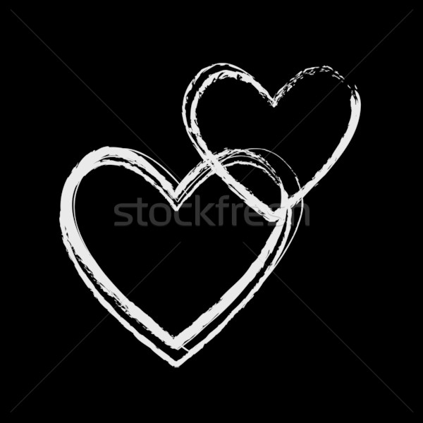 Biały kredy serca serca projektu Zdjęcia stock © rumko