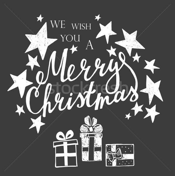 Merry Christmas Lettering on a black background  Stock photo © rumko
