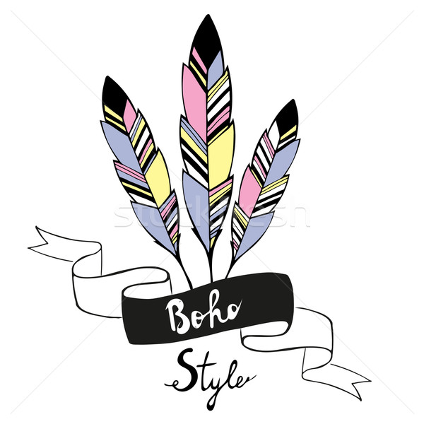 Stock Photo Vector Illustration Hand Drawn Bird Feathers With Ribbon In Boho Style