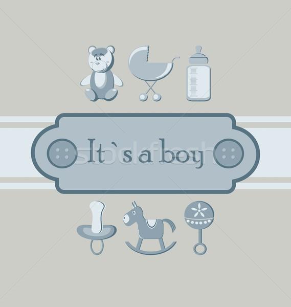 Baby jongen aankomst aankondiging kaart Stockfoto © rumko