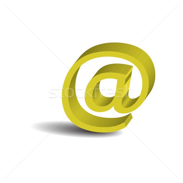 желтый электронная почта знак изолированный белый компьютер Сток-фото © rumko