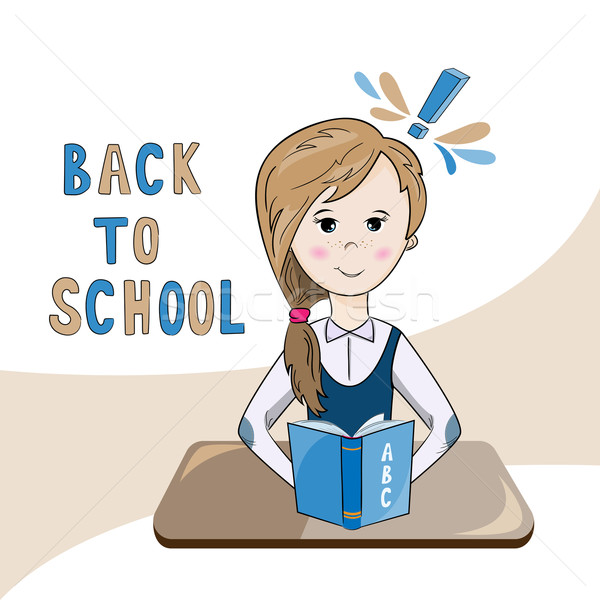 illustration of a school girl reading a textbook Stock photo © rumko