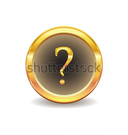 gold button with question sign Stock photo © rumko