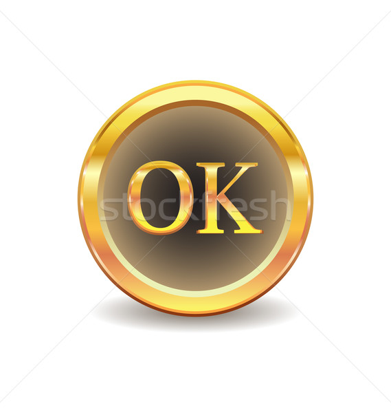 gold button with ok sign Stock photo © rumko