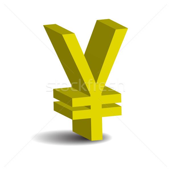 Yen 3D icono aislado blanco dinero Foto stock © rumko
