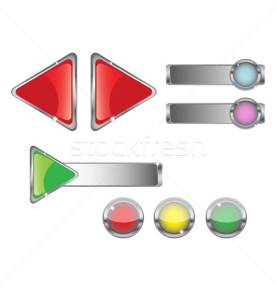 Metal web düğmeler ayarlamak parlak yalıtılmış Stok fotoğraf © rumko