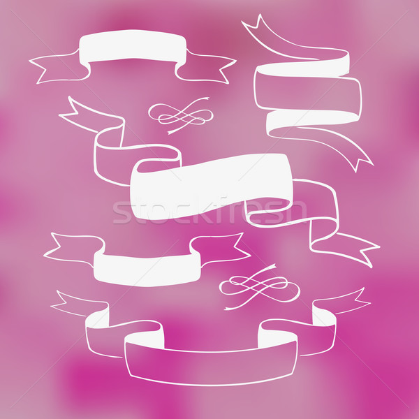 Ribbon banners on pink background Stock photo © rumko