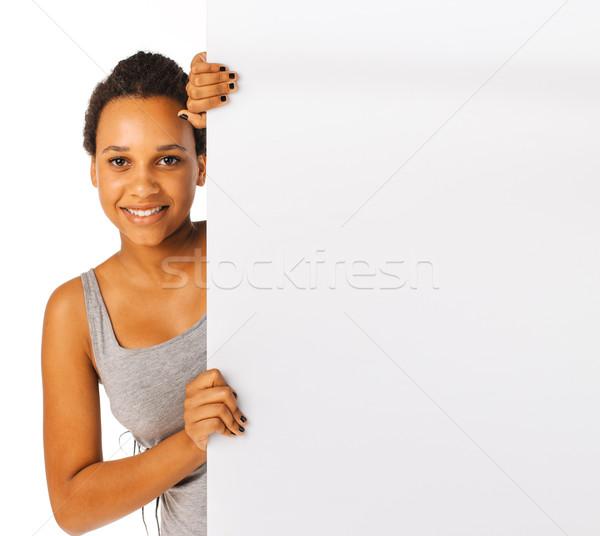 少女 空っぽ 看板 美しい 若い女性 ストックフォト © runzelkorn