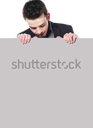 にログイン 肖像 若い男 ビジネス スーツ 下向き ストックフォト © runzelkorn
