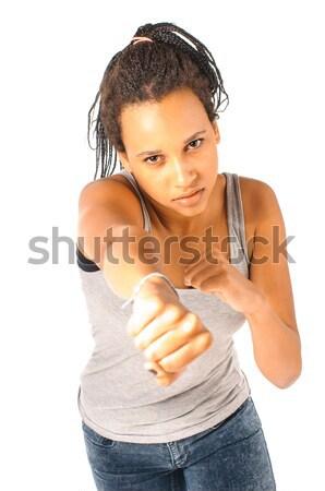 Rúgás box lány fiatal afrikai el Stock fotó © runzelkorn
