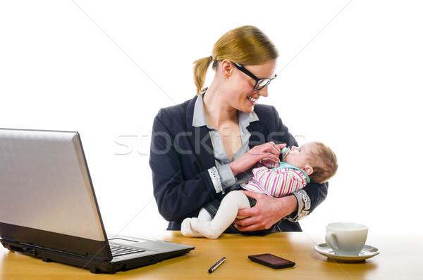 赤ちゃん 職場 成人 ビジネス女性 着用 衣装 ストックフォト © runzelkorn