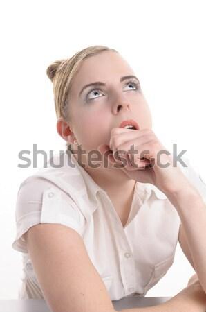 Tédio trabalhar mulher jovem loiro cabelo Foto stock © runzelkorn