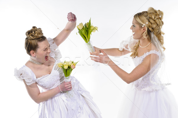 Fighting brides Stock photo © runzelkorn