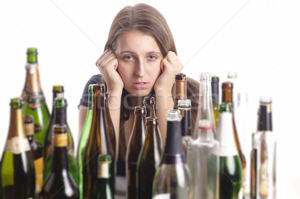 Güzel bir kadın depresyon içme alkol genç kadın uzun saçlı Stok fotoğraf © runzelkorn