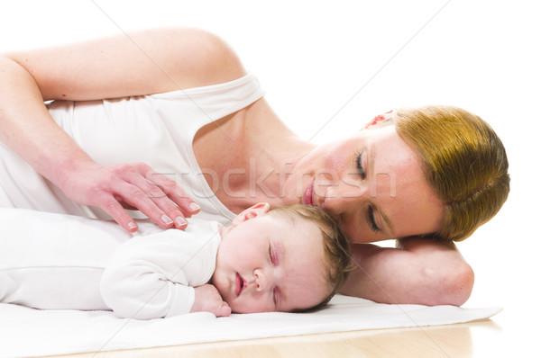 újszülött baba alszik anya lány arc Stock fotó © runzelkorn